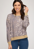 Animal Print Long Sleeve Knit Top