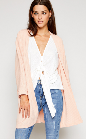 Pink Knit Open Cardigan