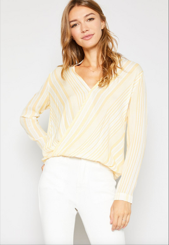 Callie Striped Surplus Top
