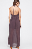 Swiss Dot Self-Tie Side Slit Halter Dress in Plum