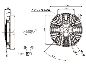 "11""(280mm) BLOWING FAN 53mm 12V MOTOR.REVOTEC"