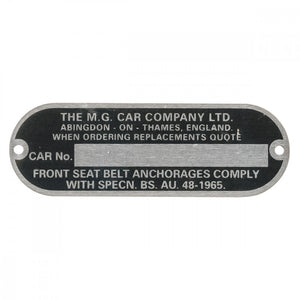 CHASSIS NUMBER PLATE, MG CAR COMPANY