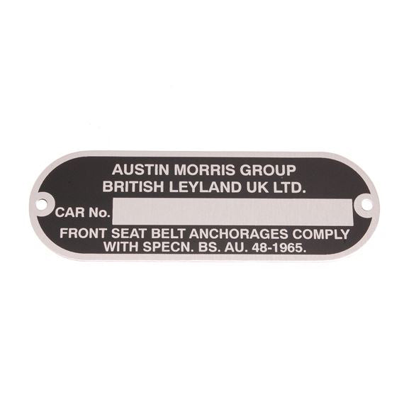 CHASSIS NUMBER PLATE, AUSTIN MORRIS GROUP