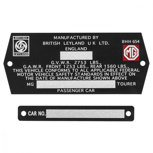 CHASSIS NUMBER PLATE PAIR US SPEC