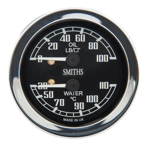 DUAL GAUGE, WATER TEMPERATURE & OIL PRESSURE
