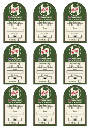 9PC CASTROL OIL CHANCE & MAINTENANCE STICKERS