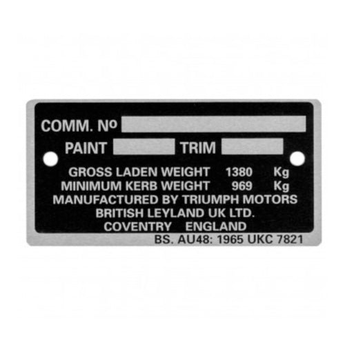 COMMISION NUMBER PLATE TR6
