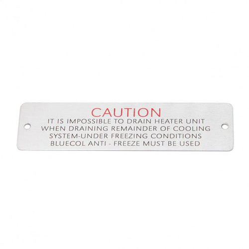CAUTION PLATE HEATER BOX