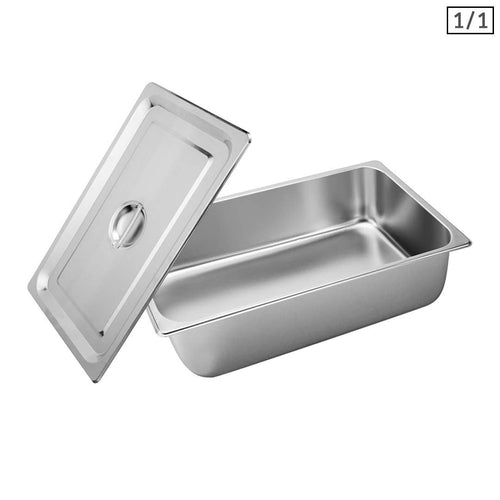 SOGA Gastronorm GN Pan Full Size 1/1 GN Pan 15cm Deep Stainless Steel Tray With Lid