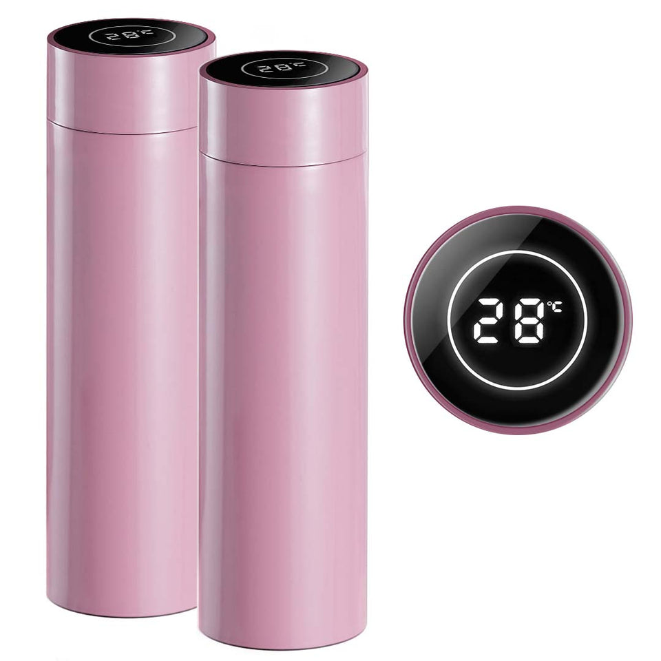 SOGA 2X 500ML Stainless Steel Smart LCD Thermometer Display Bottle Vacuum Flask Thermos Pink