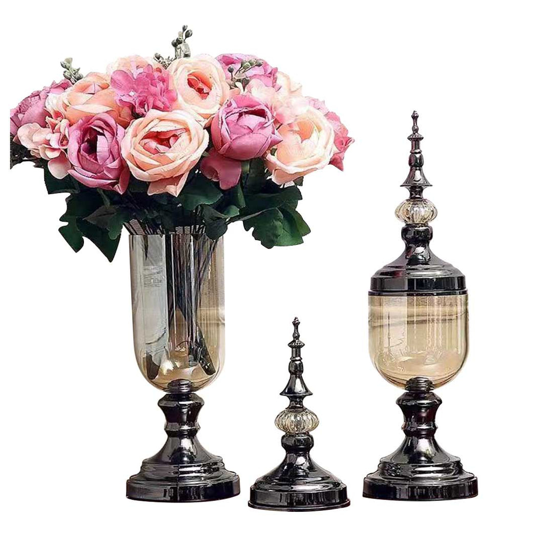 SOGA 2 x Clear Glass Flower Vase with Lid and Pink Flower Filler Vase Black Set