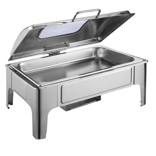 SOGA 9L Rectangular Stainless Steel Soup Warmer Roll Top Chafer Chafing Dish Set with Glass Visual Window Lid