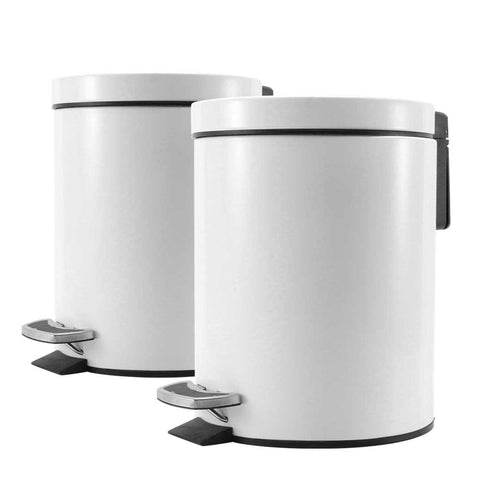 SOGA 2X Foot Pedal Stainless Steel Rubbish Recycling Garbage Waste Trash Bin Round 7L White