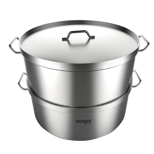 SOGA Commercial 304 Stainless Steel Steamer With 2 Tiers Top Food Grade 35*22cm