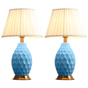 SOGA 2X Textured Ceramic Oval Table Lamp with Gold Metal Base Blue