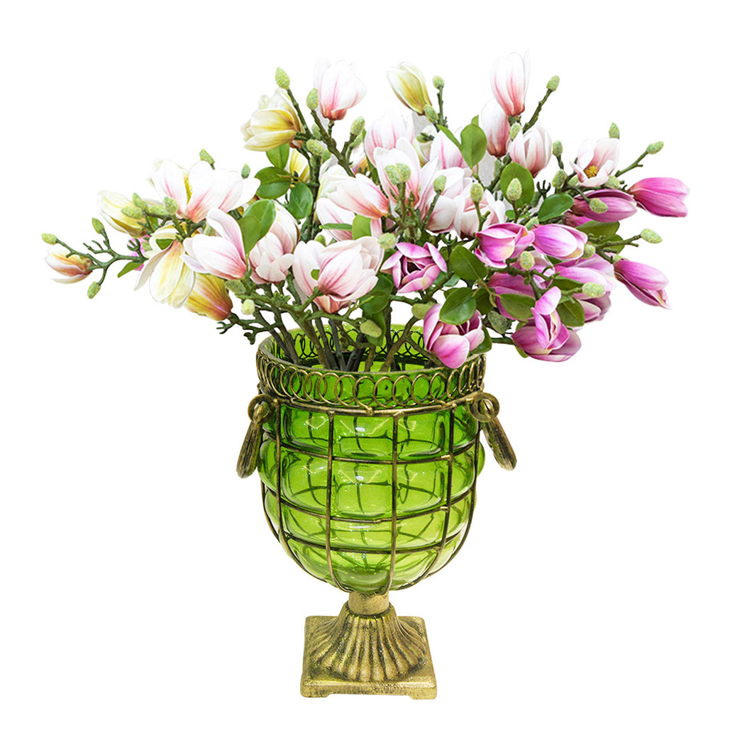 SOGA Green Glass Flower Vase with 6 Bunch 4 Heads Artificial Fake Silk Magnolia denudata Home Decor Set