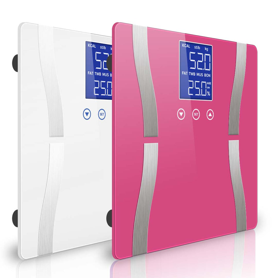 SOGA Digital Body Fat Scale Bathroom Scale Weight Gym Water Glass LCD Electronic Pink/White