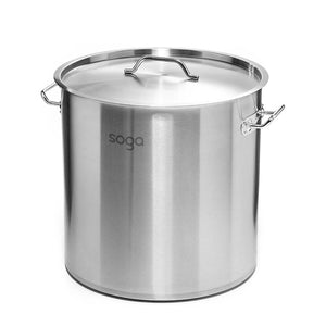 SOGA Stock Pot 50L Top Grade Thick Stainless Steel Stockpot 18/10
