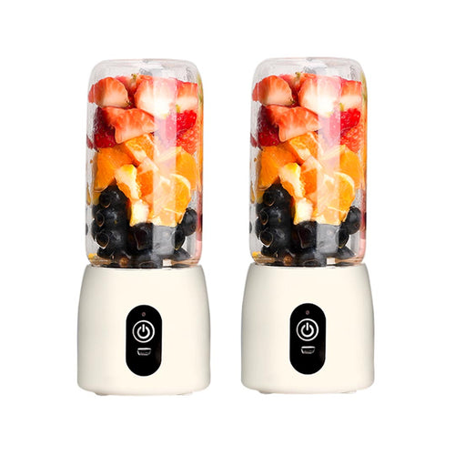 SOGA 2X Portable Mini USB Rechargeable Handheld Juice Extractor Fruit Mixer Juicer White
