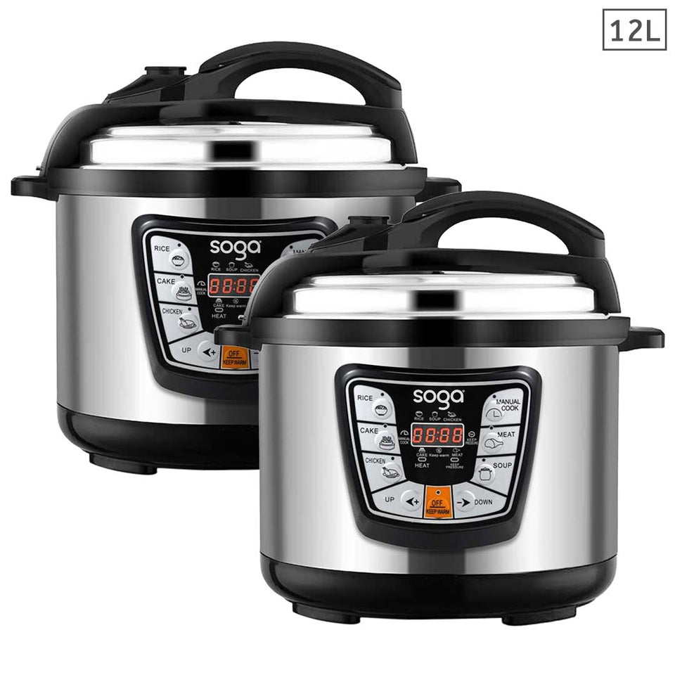 SOGA 2X Stainless Steel Electric Pressure Cooker 12L Nonstick 1600W