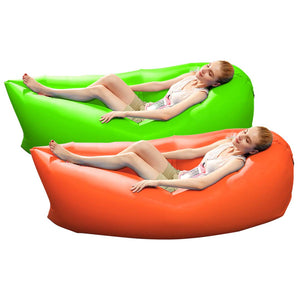 2X Fast Inflatable Sleeping Bag Lazy Air Sofa Orange/Green