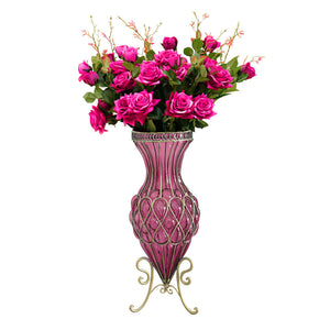 SOGA 67cm Purple Glass Tall Floor Vase and 12pcs Dark Pink Artificial Fake Flower Set