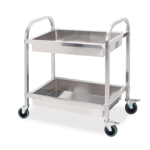 SOGA Stainless Steel Kitchen Trolley Cart 2 Tiers Dining Food Utility 95*50*95 Large