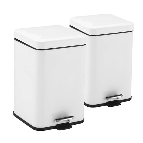 SOGA 2X Foot Pedal Stainless Steel Rubbish Recycling Garbage Waste Trash Bin Square 6L White
