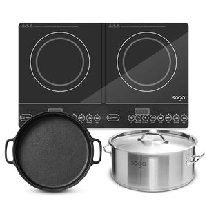 SOGA Dual Burners Cooktop Stove 30cm Cast Iron Skillet and 14L Stainless Steel Stockpot