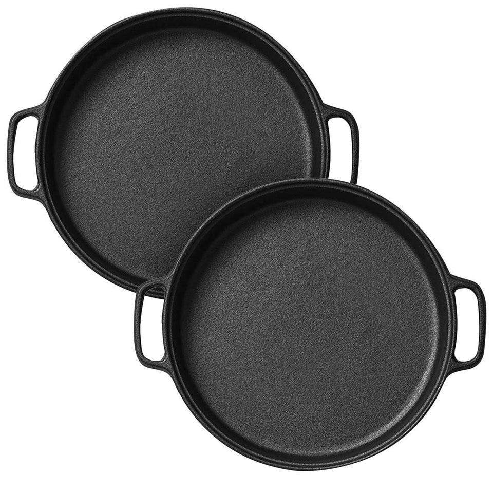 SOGA 2X Cast Iron 35cm Frying Pan Skillet Non-stick Coating Steak Sizzle Platter