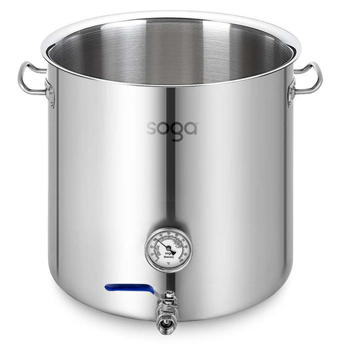 SOGA Stainless Steel No Lid Brewery Pot 50L With Beer Valve 40*40cm