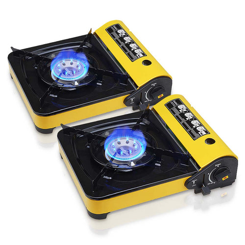 2X Portable Gas Stove Cooker Butane BBQ Camping Party Gas Burner Outdoor Yellow