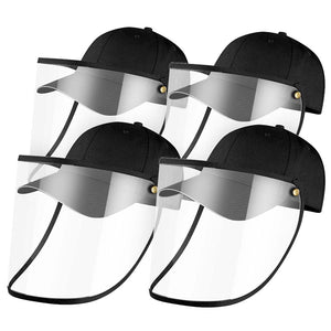 4X Outdoor Protection Hat Anti-Fog Pollution Dust Saliva Protective Cap Full Face HD Shield Cover Adult Black