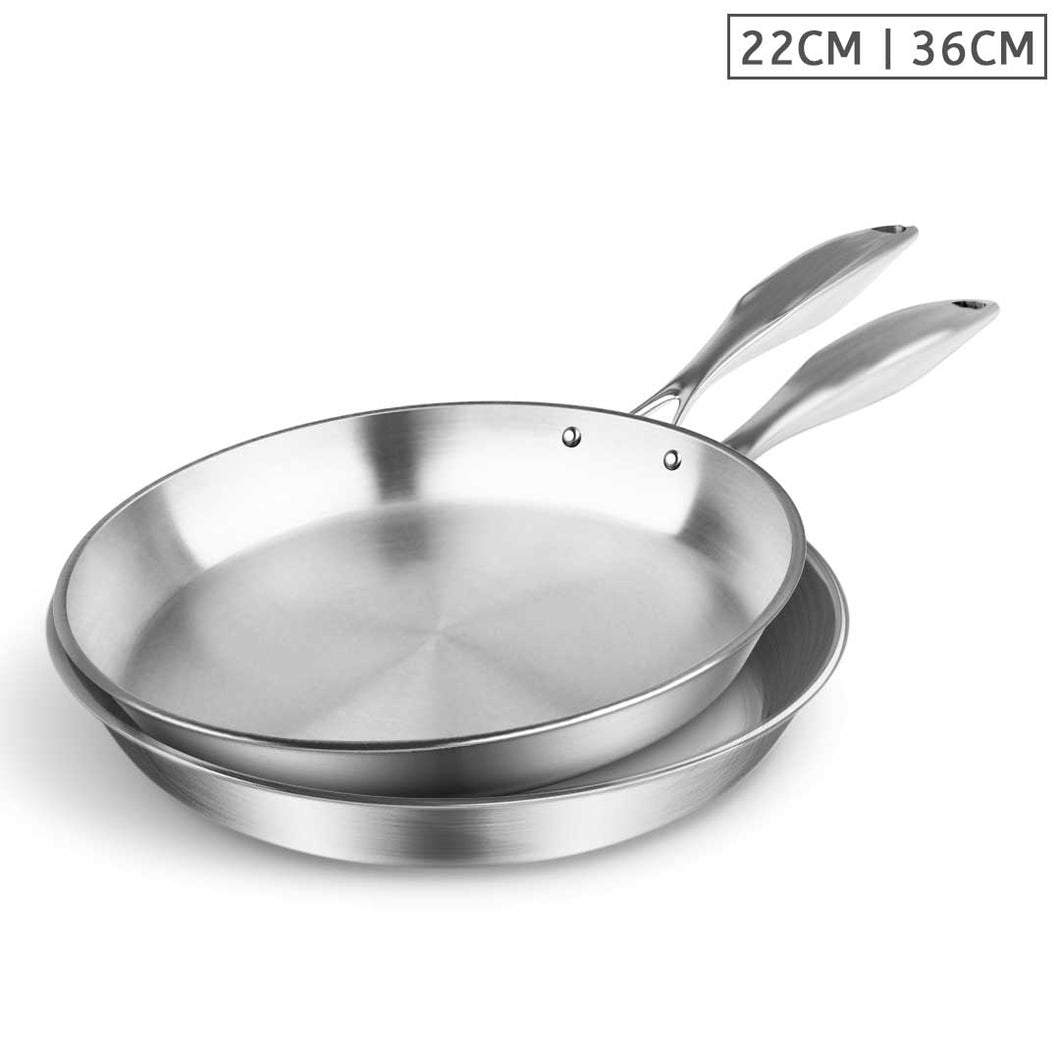 SOGA Stainless Steel Fry Pan 22cm 36cm Frying Pan Top Grade Induction Cooking