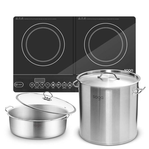 SOGA Dual Burners Cooktop Stove 21L Stainless Steel Stockpot 30cm and 30cm Induction Casserole