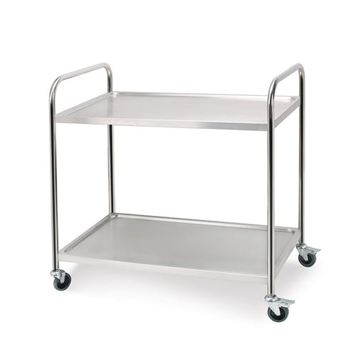 SOGA Stainless Steel Kitchen Trolley Cart 2 Tiers Dining Food Utility 81*46*85cm R