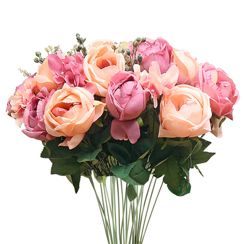 SOGA 3pcs Artificial Silk with 15 Heads Flower Fake Rose Bouquet Table Decor Pink