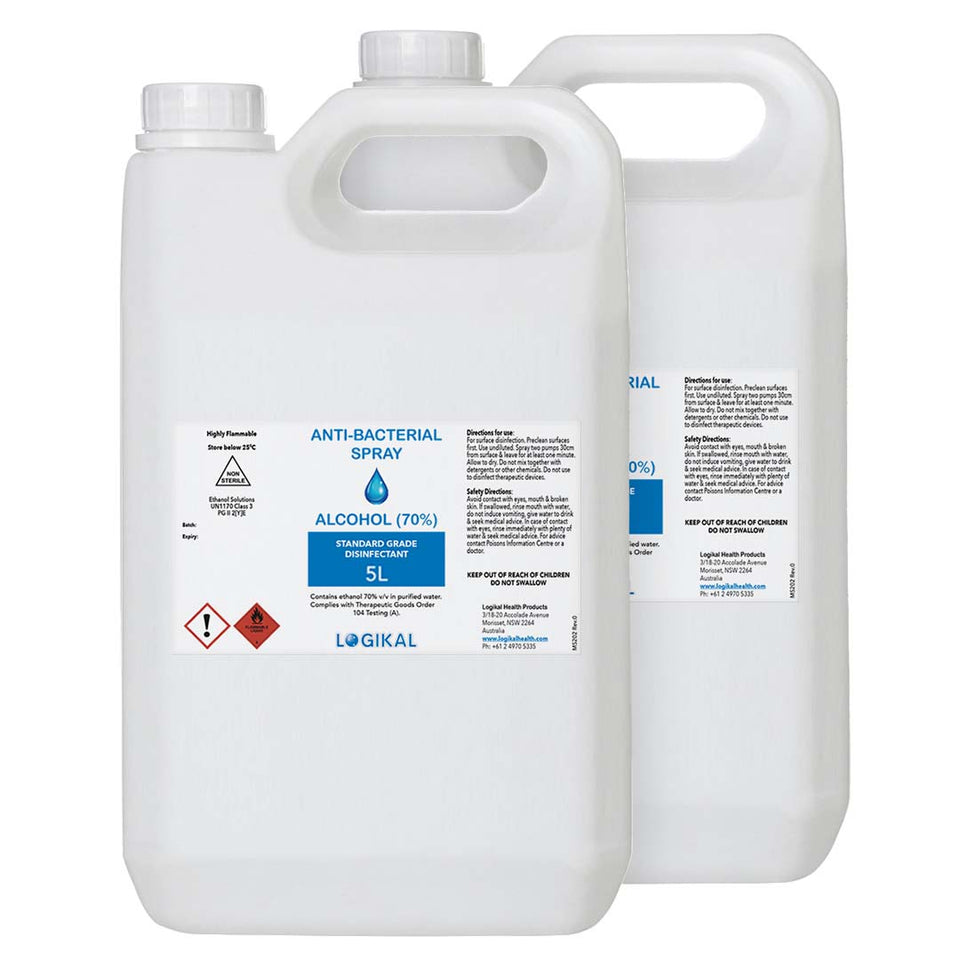 2X 5L Standard Grade Disinfectant Anti-Bacterial Alcohol