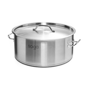 SOGA Stock Pot 9L Top Grade Thick Stainless Steel Stockpot 18/10