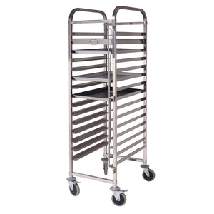 SOGA Gastronorm Trolley 15 Tier Stainless Steel Cake Bakery Trolley Suits 60*40cm Tray