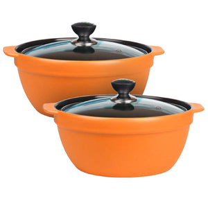 2X 3.5L Ceramic Casserole Stew Cooking Pot with Glass Lid Orange