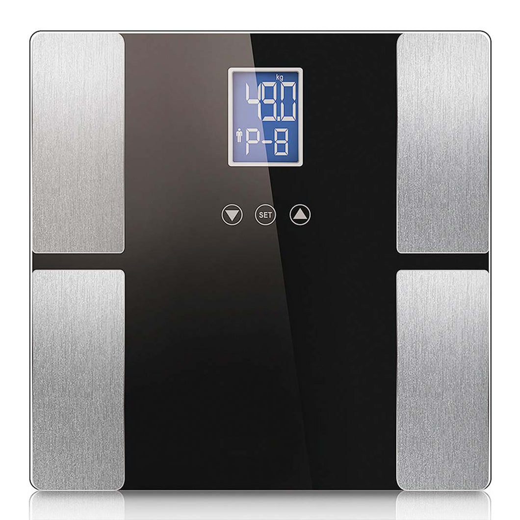 SOGA Black Digital Body Fat Scale Bathroom Scales Weight Gym Glass Water LCD Electronic