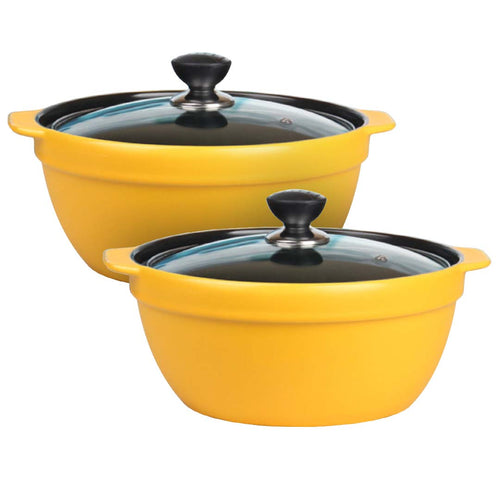 2X 3.5L Ceramic Casserole Stew Cooking Pot with Glass Lid Yellow