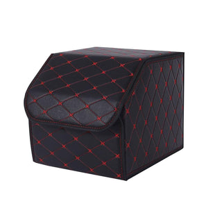 SOGA Leather Car Boot Collapsible Foldable Trunk Cargo Organizer Portable Storage Box Black/Red Stitch Small