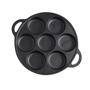 SOGA 31.5cm Cast Iron Non Stick Takoyaki Fry Pan Octopus Balls Maker 7 Hole Cavities Grill Mold