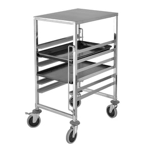SOGA Gastronorm Trolley 7 Tier Stainless Steel Bakery Trolley Suits GN 1/1 Pans with Working Surface