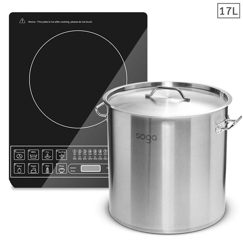 SOGA Electric Smart Induction Cooktop and 17L Stainless Steel Stockpot 28cm Stock Pot