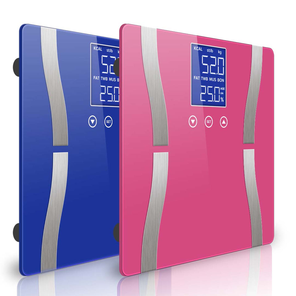 SOGA Digital Body Fat Scale Bathroom Scale Weight Gym Water Glass LCD Electronic Blue/Pink