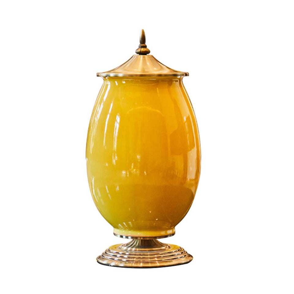 SOGA 40cm Ceramic Oval Flower Vase with Gold Metal Base Yellow