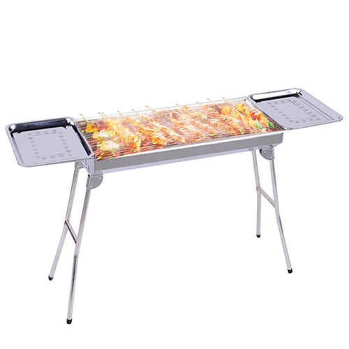 SOGA Skewers Grill with Side Tray Portable Stainless Steel Charcoal BBQ Outdoor 6-8 Persons
